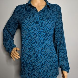 Apt 9 Blouse Blue Animal Print